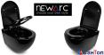 Подвесной унитаз Newarc Modern Rimless черный с сиденьем (550x370x370) 3