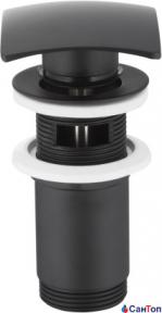 Донный клапан Armatura черный для умывальника (квадрат) c отверстием для перелива