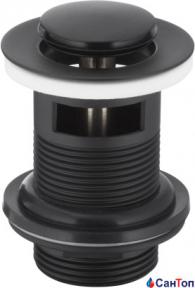 Донный клапан Armatura черный для умывальника (Ø 62 мм) c отверстием для перелива