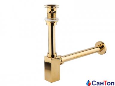 Сифон для умивальника Newarc золотий, з донним клапаном