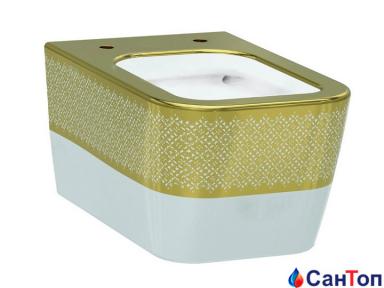 Подвесной унитаз Idevit Halley Iderimless, бело-золотой, без сиденья (520x360x350 мм)
